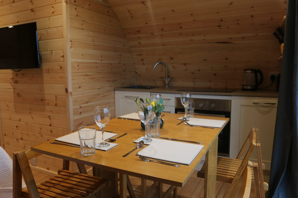 Wooden Glamping Pod Dining Area
