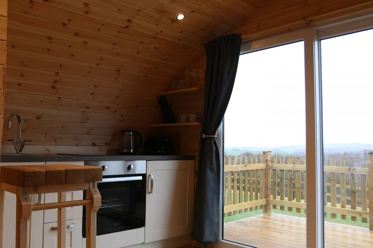 Wooden Glamping Pod Outside Area